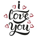 I love you cute lettering poster stock illustration