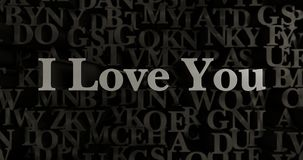 I Love You - 3D rendered metallic typeset headline illustration Stock Images