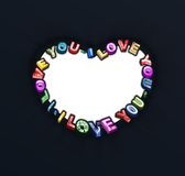 I love you 3D text stock illustration