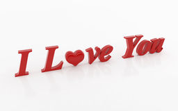 I love you 3d text Royalty Free Stock Images