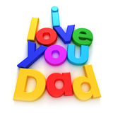 """I Love you Dad. """"I love you Dad"""" written with colourful letter magnets on neutral background stock image"""