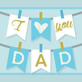 I love you DAD banner decoration and buntings in blue and golden Stock Images