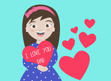 I love You Dad. Happy Father's Day card with daughter holding heart saying I Love You Dad Royalty Free Stock Photography