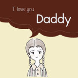 I love you Daddy cartoon saying in bubble talk illustration Royalty Free Stock Photo
