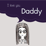 I love you Daddy cartoon saying in bubble talk illustration  Stock Photos