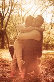 I love you daddy. Father and daughter hugging in park royalty free stock image