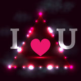 I love you, dark background with shining lights Stock Photo