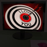 I Love You On Dartboard Shows Valentines Day Royalty Free Stock Photo