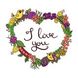I love you in doodle floral heart. Greeting card for Valentines day with sign I love you in doodle floral heart with birds, colored line silhouette Royalty Free Stock Image