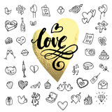 I love you doodle icon set isolated. Romanse sketchy heart and present. Vector illustration hand drawn with hand lettering stock illustration