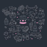 I love you doodle icon set isolated, vector illustration hand drawn Royalty Free Stock Photo