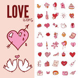 I love you doodle icon set , vector illustration Stock Images
