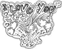 I LOVE YOU doodles Stock Photos