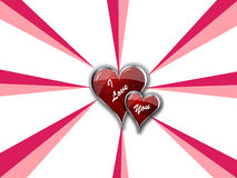 I Love You Double Hearts. With Eight Hot Pink Stripes Royalty Free Stock Images