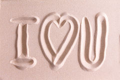 I Love You drawn in golden beach sand Royalty Free Stock Image