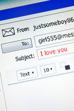 'I love you' email, vertical Stock Photography