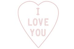 I love you embroidery vector illustration