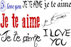 I Love You in English and French. Illustration of the words I love you in different fonts in the English and French languages vector illustration