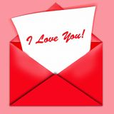 I love you envelope. A red envelope is open with I love you! written on a note stock illustration