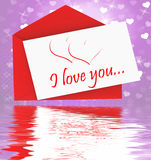 I Love You On Envelope Displays Valentines Card Or Romantic Lett Stock Photography