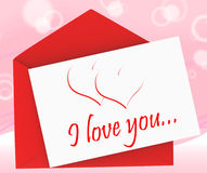 I Love You On Envelope Means Romantic Message Stock Photography