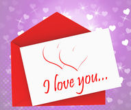 I Love You On Envelope Means Valentines Card. I Love You On Envelope Meaning Valentines Card Or Romantic Letter Royalty Free Stock Photos