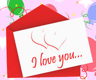 I Love You On Envelope Shows Anniversary Card Stock Image