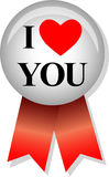 I Love You/eps. Illustration of a button and ribbon with the message I love You Stock Images