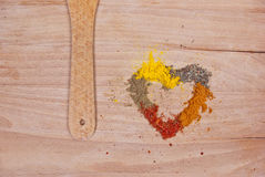 I love you. Five spices shaped in heart Royalty Free Stock Photo