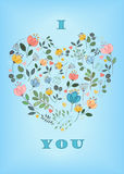 I love you. Floral Heart Royalty Free Stock Photography