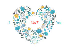 I love you. Floral Heart Royalty Free Stock Images