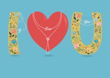 I Love You. Folk Letters and Heart. Pearl Collars Royalty Free Stock Images
