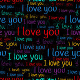 I love you, font seamless pattern. Valentine`s Day background. Multicolored bright letters Stock Image
