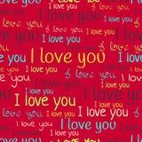 I love you, font seamless pattern. Valentine`s Day background.  Stock Photography