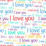 I love you, font seamless pattern. Valentine`s Day background. Multicolored letters  Royalty Free Stock Photos