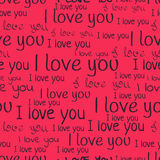 I love you, font seamless pattern. Valentine`s Day background.  Stock Images
