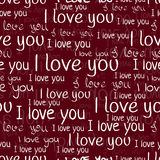 I love you, font seamless pattern. Valentine`s Day background.  Royalty Free Stock Photos