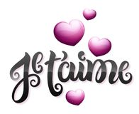 I love you in French : Je t'aime. Vector illustration Royalty Free Stock Photos