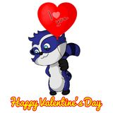 I love you! Funny raccoon with balloon heart for Valentine`s Day. Greeting card for Valentine`s Day Royalty Free Stock Image