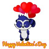 I love you! Funny raccoon with balloon heart for Valentine`s Day. Greeting card for Valentine`s Day Stock Image