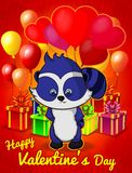 I love you! Funny raccoon with balloon heart for Valentine`s Day. Greeting card for Valentine`s Day Stock Photo
