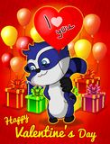 I love you! Funny raccoon with balloon heart for Valentine`s Day. Greeting card for Valentine`s Day Royalty Free Stock Photos