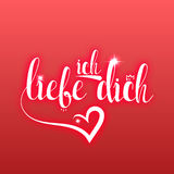 I love you in german greeting card. Ich Liebe Dich Royalty Free Stock Photography