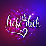 I love you in german greeting card. Ich Liebe Dich Royalty Free Stock Images