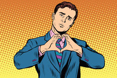 I love you gesture heart man Stock Images