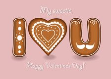 I love you. Gingerbreads letters and heart stock photo