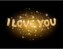 I love you gold balloons. I love you gold letter balloons on black. I love you. Valentines day card. Gold dark background for flyer, poster, sign, banner, web Royalty Free Stock Photography