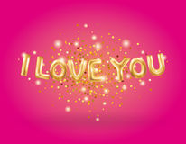 I love you gold balloons. I love you gold letter balloons on pink. I love you. Valentines day card. Gold background for flyer, poster, sign, banner, web header Royalty Free Stock Photo