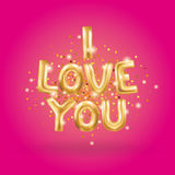 I love you gold balloons. I love you gold letter balloons on pink. I love you. Valentines day card. Gold background for flyer, poster, sign, banner, web header Stock Photography