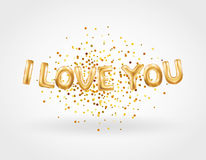 I love you gold balloons. I love you letter. Valentines day card. Gold background for flyer, poster, sign, banner, web header. Abstract golden background text Stock Photos